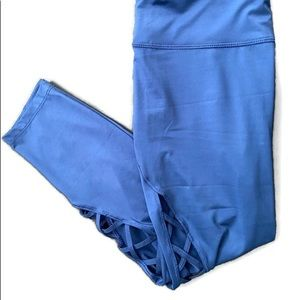 AVIA blue Capri leggings with cage opening on legs